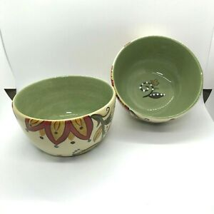 """Pier 1 One Set of 2 Carynthum 6"""" Soup Cereal Bowls. Very minor chips/flaws"""
