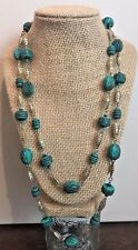 Vintage Turquoise Necklace Silver Metal Wrap Long Beaded Retro Jewelry VTG