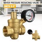 DN20 3/4' Brass Water Pressure Regulator Adjustable Brass Reducer +Gauge Meter