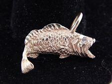 14k YG Bass Fishing Charm Designer Pendant Vintage circa 1986 Fish Diamond Eye