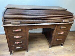 Wooden Roll Top Desk Office Library Oak ?