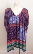 VELZERA Small Patch Print Boho Tunic Dress Long Sleeve V-Neck Blouse Tee Top NWT