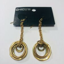 """CHICO'S NIKKI TWO TONE GOLD & BRASS CHAIN AND CIRCLE EARRINGS 2.25"""""""