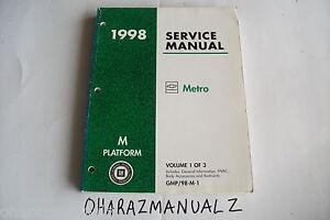 1998 GEO METRO General Info HVAC Body Accessories Restraints Service Manual