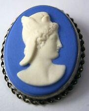 Vintage Wedgwood Blue Cameo Sterling Silver Jasper Pin Brooch Jasperware