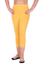 Cropped Leggings With Lace 3/4 Length Casual Cotton Pants Hot Colours Sizes 8-22