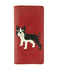 New LAVISHY Checkbook Wallet FRENCH BULLDOG Vegan Leather PUPPY DOG Frenchie RED
