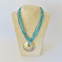 GORGEOUS VINTAGE TURQUOISE MULTI BEAD STRAND MOTHER OF PEARL PENDANT NECKLACE