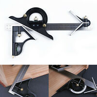 12 SAE Metric Stainless Steel Combination Square & Protractor Measuring Tool