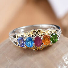 "AA Multi-Gemstone 925 Sterling Silver ""Band"" Ring. SALE ON !!!"