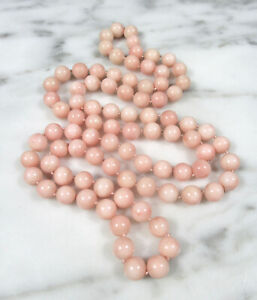 """ANTIQUE VICTORIAN NATURAL PINK ANGEL SKIN CORAL 8MM BEADED NECKLACE 32"""" 67.7 GR"""