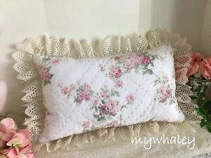 NEW Ruffled LACE PiLLOW made w/ Rachel Ashwell Simply Shabby Chic PiNK fabric