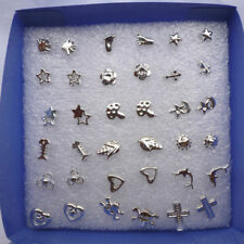 New 20Pairs New Mixed Silver Plated Ear Stud Earrings Kids Shapes Children Studs