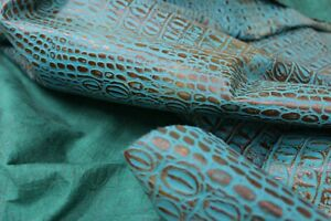 TURQUOISE BROWN ALLIGATOR EMBOSSED LEATHER: Thickness 1.1 - 1.3 mm - 40 sqft