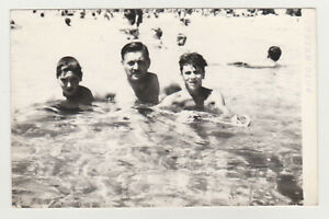 Affectionate Handsome Men Shirtless Muscle Trunks Snapshot Beach 1960s VTG Photo