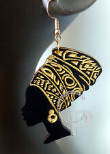 Laser cut wooden earrings African woman queen head wrap in black and gold large