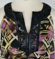 Alfani Womens Size 12 Brown Black Purple Sequins Sleeveless Tunic Top