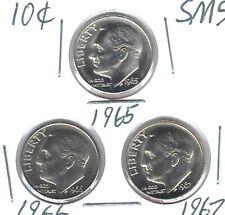 1965+1966+1967 Philadelphia Three Proof Like SMS Roosevelt Dimes!