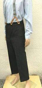 Vintage 1920's Edwardian Bespoke Tailored Grey Stripe Morning Trousers W34 L26