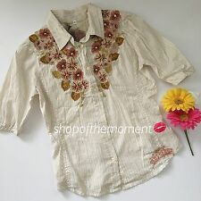 3J Workshop Johnny Was?Rissa Top?Floral Mandala Embroidery?S NWOT $150?JWLA Wow!