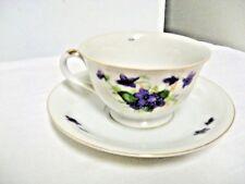 Older Made in Japan Marked Tea/Coffee Cup & Saucer - Violets Motif