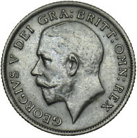 1921 SIXPENCE - GEORGE V BRITISH SILVER COIN - V NICE