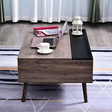 Lift-top Coffee Table Storage Compartment Metal Grey Wood