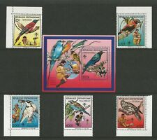 CENTRAL AFRICAN REPUBLIC 1988  Birds Scouts 5 values plus MS MNH sg:1301-1305(6)