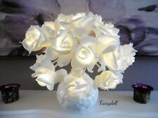 Light Up White LED Flowers in Vase ~ Flower Lamp ~ Beautiful boxed gift ~ New!
