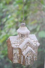 Vidrio adornos de Navidad Árbol Adorno Decoración Nieve acabado craquelado de la Iglesia