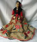 Vintage Spanish Boudoir Doll 23 Gorgeous Painted Cloth Face, w/ Lavish Dress
