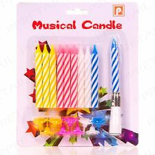 20pc Musical Candles Set Happy Birthday Candy Striped Cake Decoration Topper