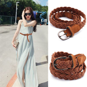 Women Fashion Elastic Cinch Belt  Wide Stretch Waist Band Hemp Rope Braid Bel.BI