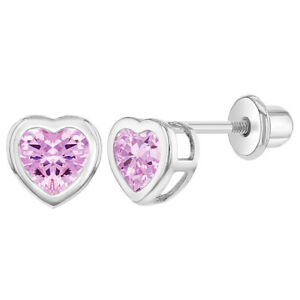 Rhodium Plated Heart Bezel Pink CZ Screw Back Earrings for Little Girls
