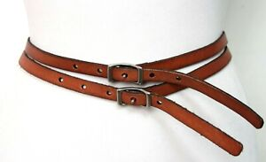 """Fossil TAN BROWN GENUINE LEATHER 0.5""""Wd SKINNY DOUBLE STRAPS BUCKLE BELT S (X13"""