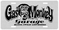Gas Monkey Garage Glossy Silver or Gold Metal Flat Car License Plate