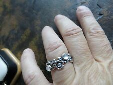Authentic Pandora ALE Sterling Silver Flower Eternity Stone Ring Band Size 6.