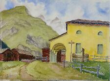 Aquarelle Zermatt Valais Suisse Henri Gommers 1963 Montagne