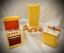Vintage 1978 Fisher Price Doll House KITCHEN LOT - STOVE, SINK, FRIDGE & FOOD