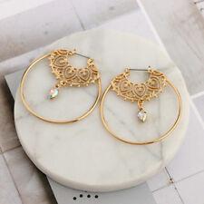 Vintage Ethnic Spiral Brass Gypsy Earrings Tribal Festival Indian Hoops Jewelry
