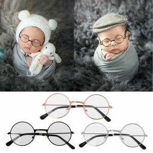 UK Newborn Boy Girl Baby Flat Cute Glasses Photography Props Studio Shoot