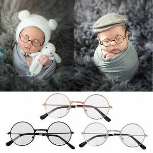 UK Newborn Boy Girl Baby Flat Cute Glasses Photography Props Studio Shoot