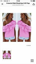 Candy Pink Striped Off the Shoulder Top Size Small New