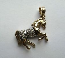 9ct Gold Cubic Zirconia Small Horse Pendant 4.9g