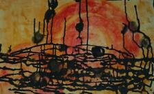"""Mid Century Watercolor Abstract """"Strange Music"""" by Listed Artist Mary Dill"""