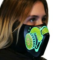 Sound Reactive LED Lighted Half Mask for Halloween Rave Festival Party Cosplay
