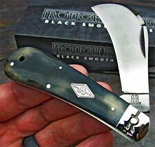 Couteau Serpette Rough Rider Genuine Black Bone Lame Acier Inox Manche Os RR1770