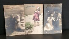 Antique 1911 & 1912 Real Picture Post Cards Set of 3 Christmas German Rppc Pc