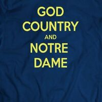 COLLEGE FOOTBALL GOD COUNTRY AND NOTRE DAME MEN'S T-SHIRT*FULL FRONT