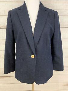 Ann Taylor Blazer Jacket Navy Blue Textured Gold Buttons Size 10p Petite
